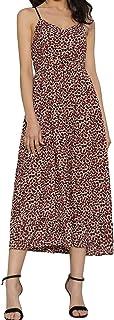 Women V Neck Leopard Dress Spaghetti Strap Backless A Line Dress Casual