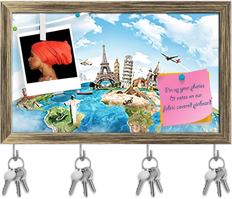Artzfolio Monument Concept Key Holder Hooks   Notice Pin Board   Antique golden Frame 19.9 X 12Inch
