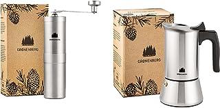 Groenenberg Spar-Pack 1 | kaffekvarn manuell + espressobryggare induktion 4 koppar rostfritt stål | handkaffekvarn | espre...