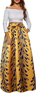 Women African Printed Casual Maxi Skirt Flared Skirt Multisize A Line Skirt S-3XL