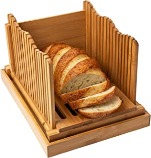Comfify Bamboo Bread Slicer For Homemade Bread Loaf Wooden Bread Cutting Board With Crumble Holder Foldable And Compact Lo...