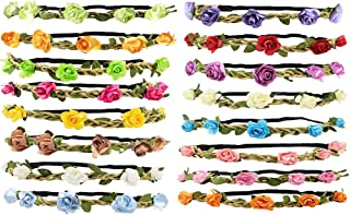 ManYee 16 Pack Flower Crown Flower Crowns for Women with Elastic Band Flower Headbands for Women Wedding Party Women Girls...