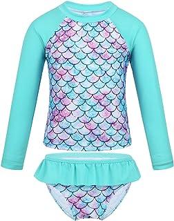 Oyolan Kids Girls Mermaid Swimsuit Swimwear Swimming Costume Fish Scales Tankini Two Pieces Children Rash Guard UPF 50+ Ba...