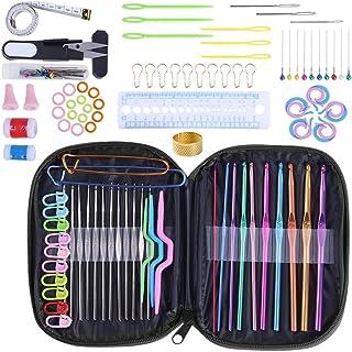 MerryDate 100 PCS kit Crochet,Accessoires Nécessaires à Tricoter,Crochets de Tricot Aluminium Assortiment de Crochets Outi...