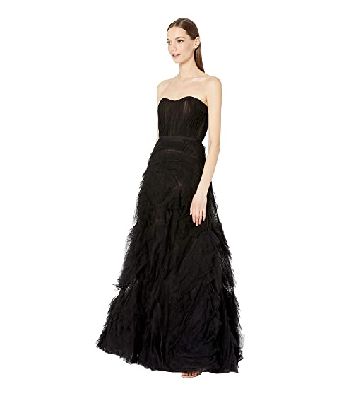 59c631b0992c0 Marchesa Notte Strapless Textured Tulle Gown with Draped Corset Bodice and  Trim