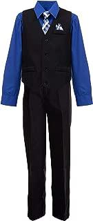 Boys' 4 Piece Suit Set with Vest, Shirt, Tie, Pants, Handkerchief