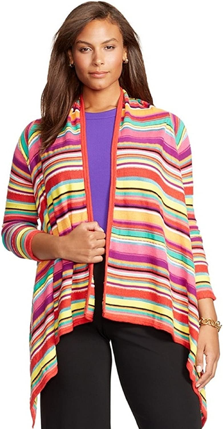 Lauren Ralph Lauren, Plus Size Draped Striped Cardigan