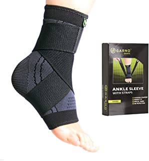 GARNO Ankle Compression Sleeve with Adjustable Straps, Arch Brace Support & Foot Stabilizer, Elastic Wrap for Plantar Fasciitis, Achilles Tendonitis Recovery, Sports Bandage Sock (Single), Men, Women