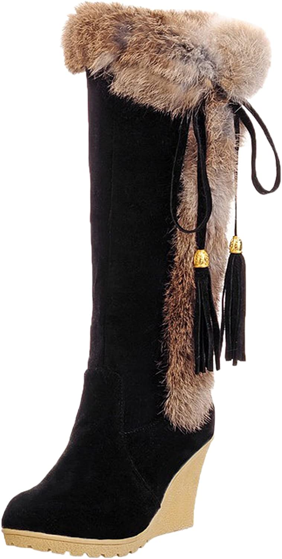 BIGTREE Rabbit Hair Snow Boots Women Comfortable Wedge Tassel Winter Warm Mid-Calf Boots