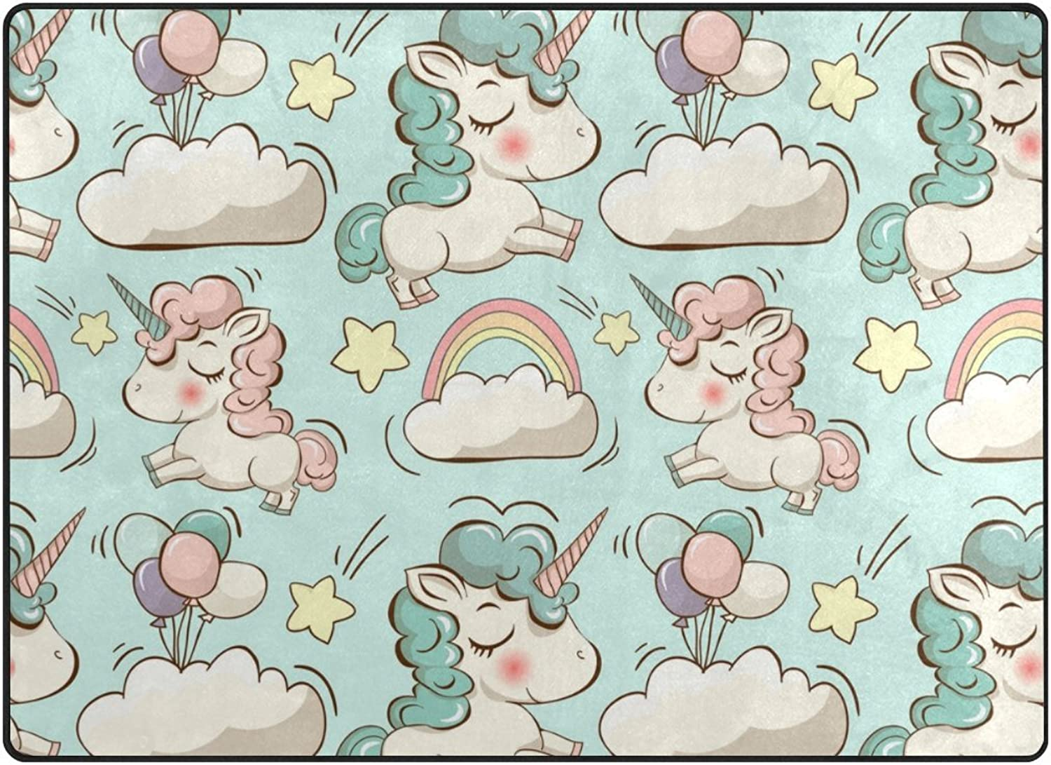 SUABO 80 x 58 inches Area Rug Non-Slip Floor Mat Cute Unicorns and Clouds Printed Doormats for Living Room Bedroom