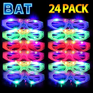 HDHF 2019 Light Up Sunglasses Glow in The Dark Party Supplies 24 Pack LED Sunglasses,4 Color LED Glasses Light Up Plastic Bat Glasses for Adults Kids Neon Halloween Party Favor Rave Party