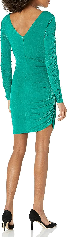GUESS Women's Long Sleeve V Neck Dress with Asymetrical Hem
