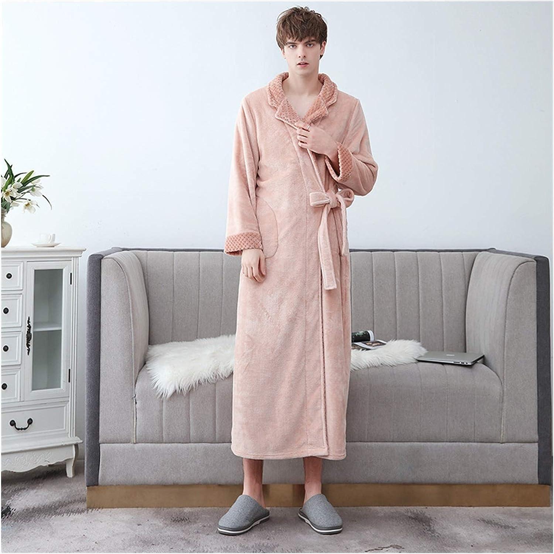 Couple Flannel Nightgown Kimono Warmth Thick Bathrobe Winter Home Clothing Seupeak