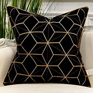 Avigers 20 x 20 Inches Black Gold Plaid Cushion Cases Luxury European Throw Pillow Covers Decorative Pillows for Couch Living Room Bedroom Car