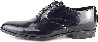 Zapatos de ceremonia clásicos artesanales Oxford de piel abrasiva azul