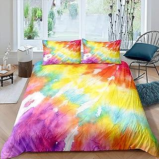 Orange Tie Dye Bedding Boho Hippie Duvet Cover Set Yellow Purple Swirl Pattern Tie Dyed Bedding Sets Full Size,Bright Blue...