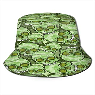 Fisherman Hat Camouflage Skull Pattern Sun Hat Women Men Eye Protect Breathable Bonnie Cap 3D Printed Beach Hat Durable&Reversible for Summer Outdoor