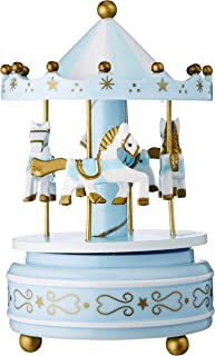Carousel Music Box Castle in The Sky - Wooden Horse, Rotate with Music, Blue Memories Birthday for Kids DIFFMELY