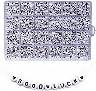 DoreenBow 1200PCS White Letter Beads Round Acrylic Letter Beads A-Z Heart and Alphabet Letter Beads for Bracelets Jewelry Making Necklaces Key Chains and Kids Jewelry (4x7mm)