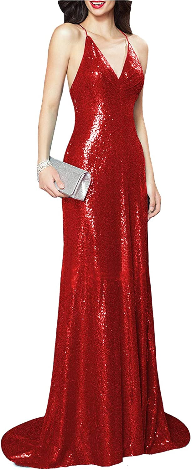 CCBubble Women's Mermaid Sequined Prom Dresses V Neck Formal Evening Party Gowns CXY812