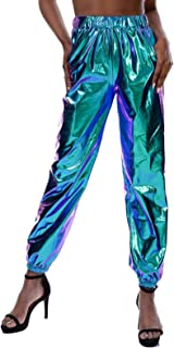 Women's Glossy Metallic Hip-Hop Sweatpant Holographic Iridescence Jogger Pants Tapered Pant with Pockets