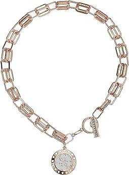 Logo Pendant On Link Toggle Close Necklace
