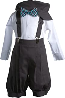 Boys Dark Grey Linen Knicker Outfit Teal Argyle Bow Tie Baby and Toddlers