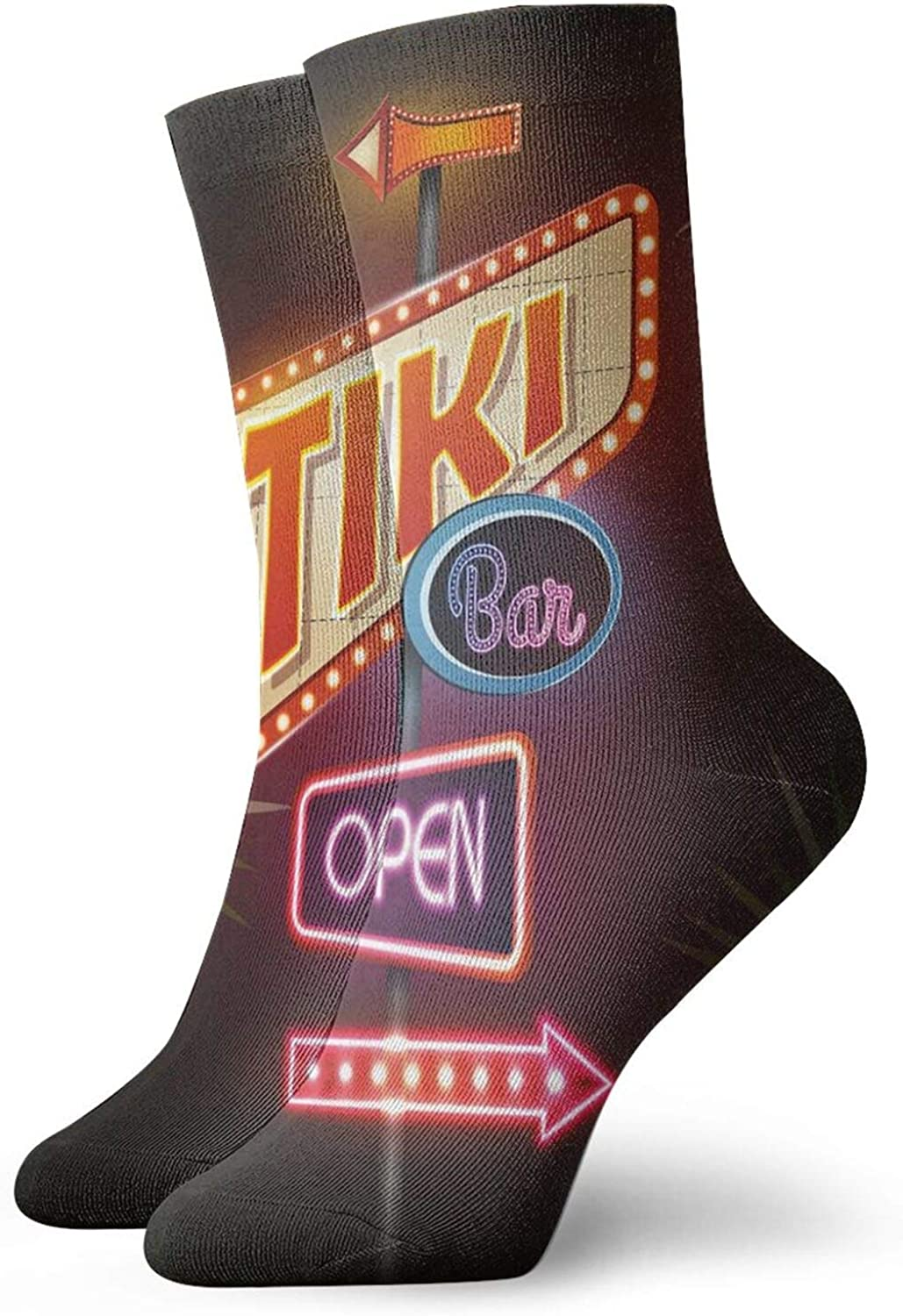 Compression High Socks-Old Fashioned Neon Signs Illustration Open Bar Palm Tree Branches Roadside Best for Running,Athletic,Hiking,Travel,Flight