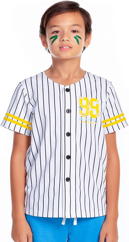 M.D.K Boys Short Sleeves Button Down Crewneck Striped Baseball Jersey T-Shirt