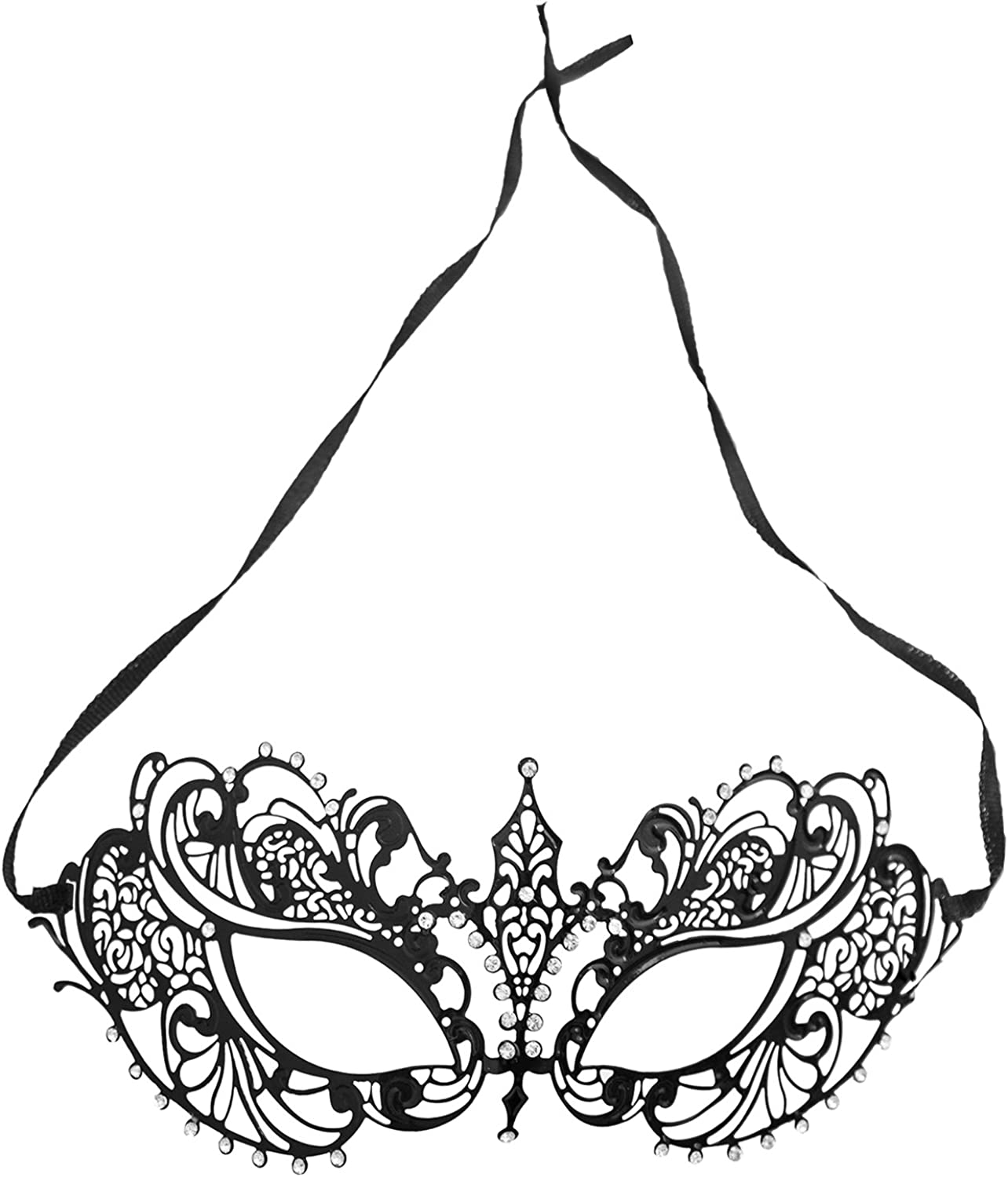 Venetian Butterfly Minimalist Black Brocade Lace Costume Mask Elegant Macrame Lace Masquerade Ball Mask with Clear Crystal