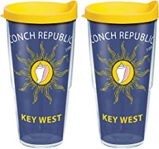 Tervis 1068068 Florida Conch Republic Flag Key West Insulated Tumbler with Wrap and Yellow Lid 24oz Clear