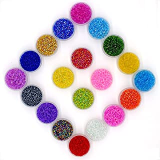 MATENG 2mm Multicolor Beading Glass Seed Beads,Round Glass Seed Beads About 16000pcs 20 Colors with 0.6mm Round 10 Meters Long DIY Beads Line.