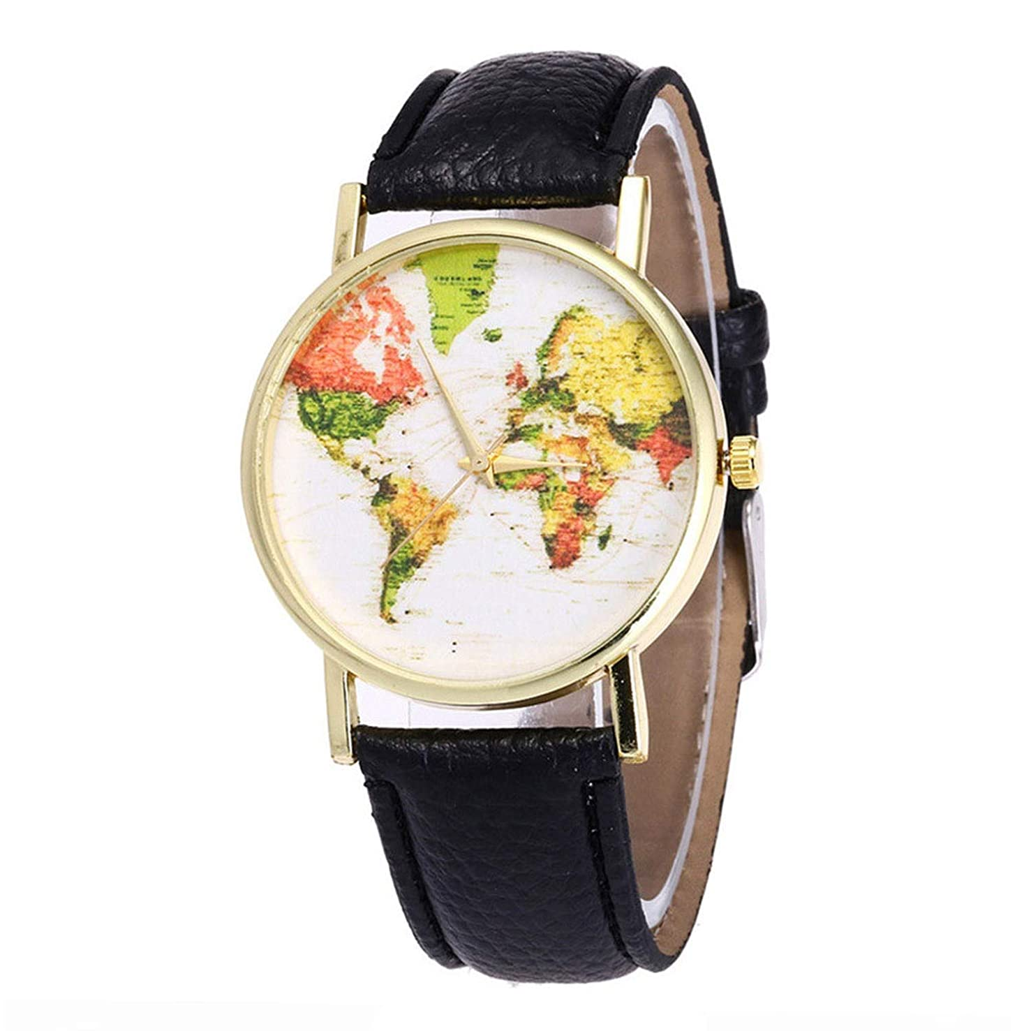 Shi Tou_2019 New Daily Casual Sports Ladies and Men's Map Leather WatchesWatch Candy Color Male and Female Strap Wrist Watch Perfect After-Sales Watch is Uniquely Adjustable