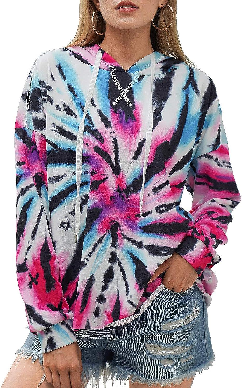 Blooming Jelly Women's Tie Dye Hoodie Casual Long Sleeve Hooded Sweatshirt Oversized Pullover Tops