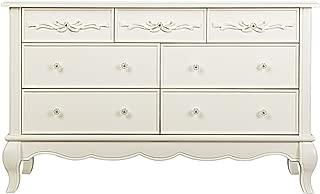 Evolur Aurora 7 Drawer Double Dresser, Ivory Lace