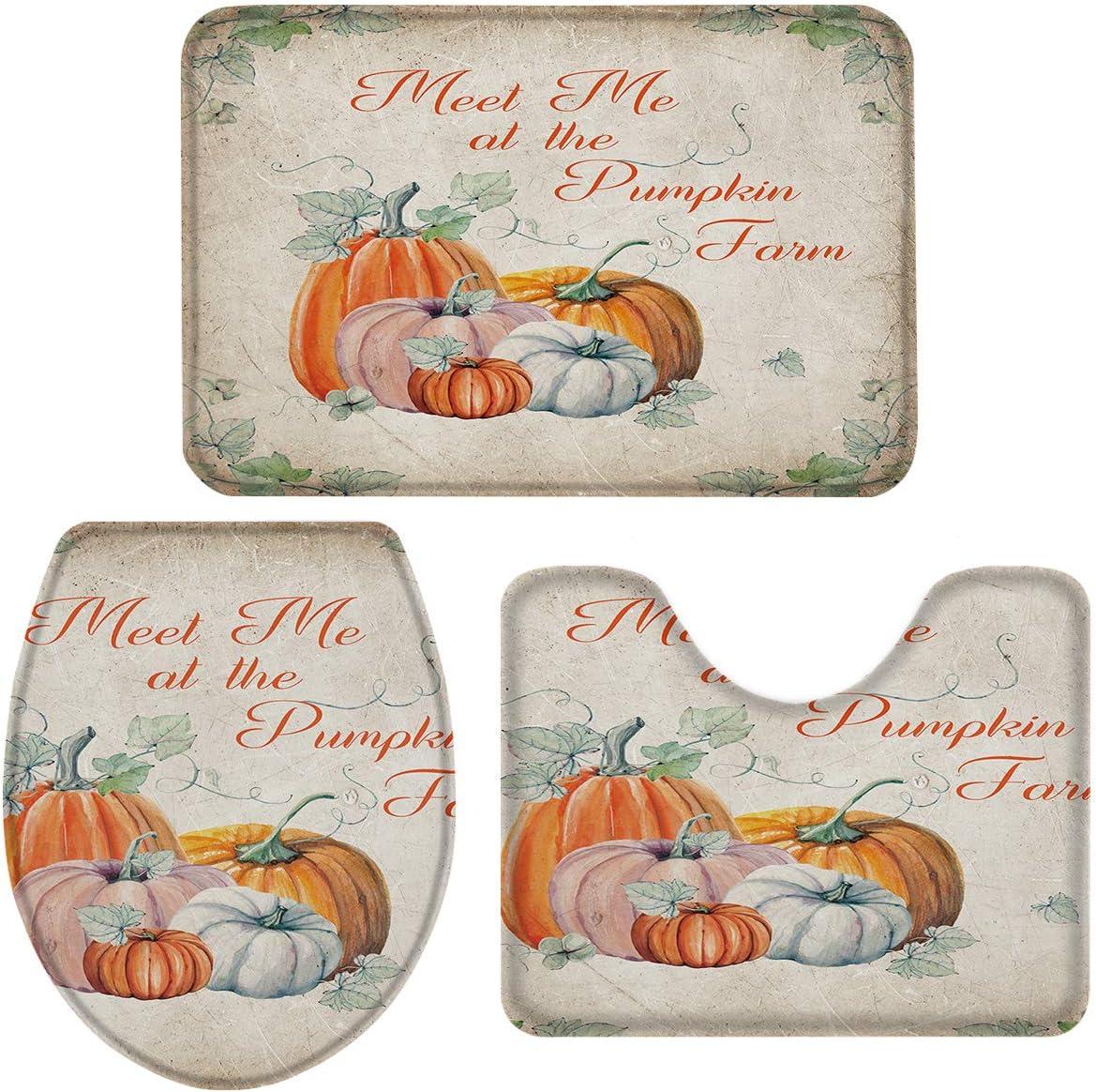 3-Piece Bath Rug お得なキャンペーンを実施中 and Mat 専門店 Non-Sli Farm Pumpkin Sets Thanksgiving