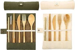 2 Juegos de cubiertos de bambú, cubiertos de madera,
