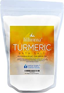 Turmeric Bath Salt 40 Ounces Mediterranean Sea Salt with Turmeric, Lemon, and Frankincense Essential Oils, ...