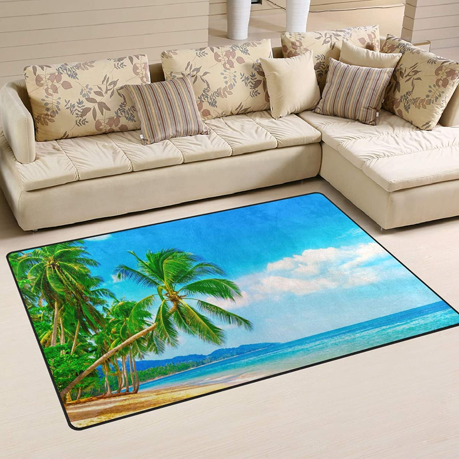 Area Rugs Doormats Beautiful Beach and Palm Tree 5'x3'3 (60x39 Inches) Non-Slip Floor Mat Soft Carpet for Living Dining Bedroom Home