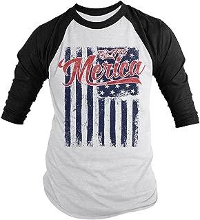Shirts By Sarah Men's Merica Est. 1776 Distressed Flag 4th July 3/4 Sleeve Raglan Shirt