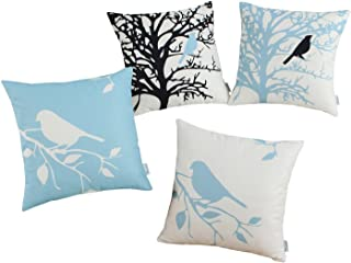 CaliTime Set of 4 Canvas Throw Pillow Covers Cases Couch Sofa Home Decoration Vintage Birds Tree Branches Silhouette 18 X 18 inches Black/Light Blue
