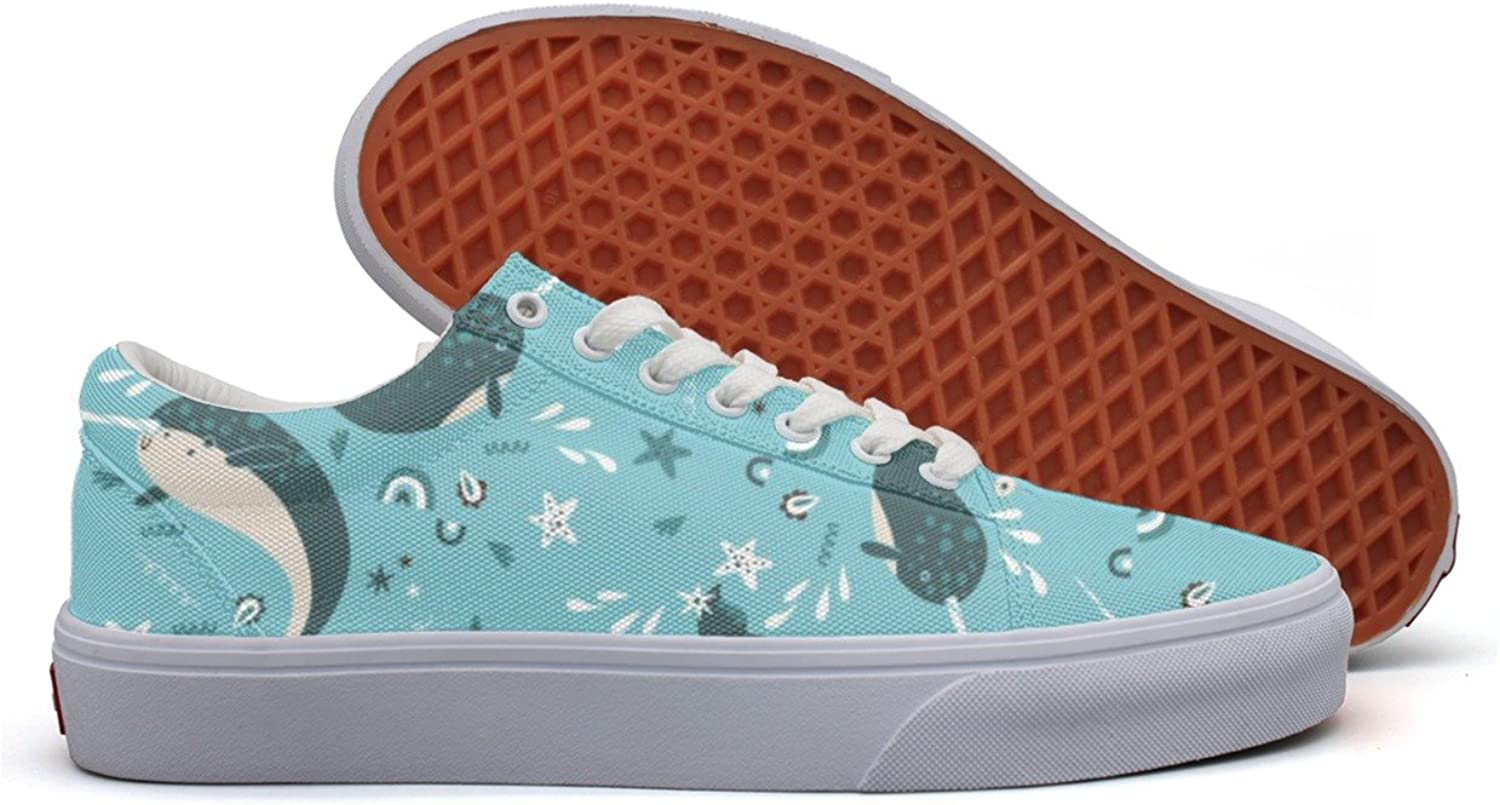 Narwhal In Tide Women's Casual shoes Sneakers Flat Slip Print Gym