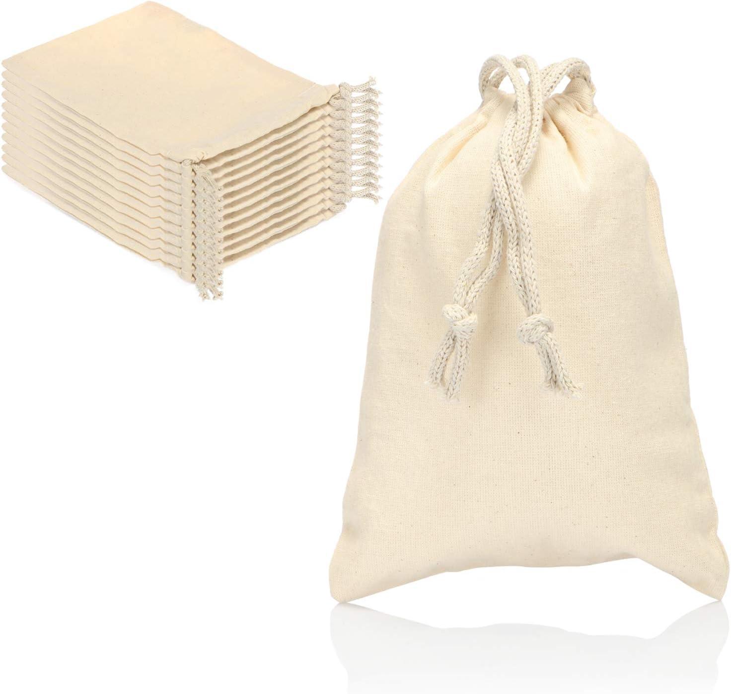 com-four® 12x Bolsa de Algodón - Bolsa de Tela Reutilizable con Cordón - Sin Impresión, Ideal para Pintar - Oeko-Tex® Standard 100 (12 Piezas - 19.5x14.5cm)