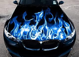 Stikka Vinyl Car Hood Wrap Full Color Graphics Decal Blue Fire Burning Flame Sticker (54