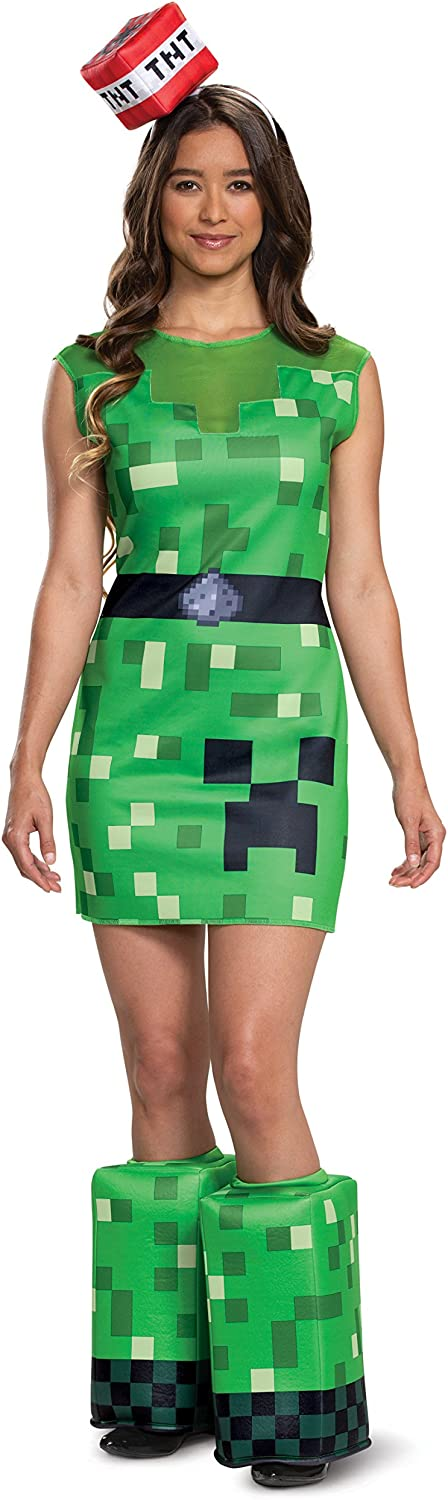 Disguise Wouomo Creeper Female Adult Costume, verde, S (4-6)