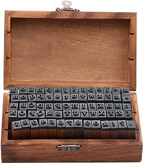 حروف رقم مطاطية خشبية، قم بإخماد 70 قطعة من الطوابع الأبجدية من المطاط الخشبي القديم ورمز لصناعة بطاقات الحرف وتدريس الرسم