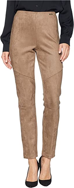 Pull-On Suede Straight Leg Pants