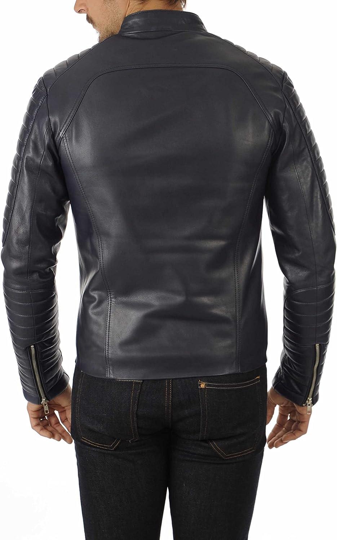 Men's Leather Jacket Motorcycle Bomber Biker Genuine Lambskin Leather 488