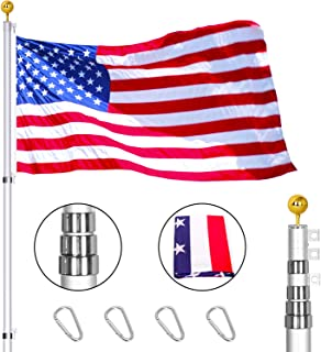 Agodea Telescopic Flag Pole Kit, 20ft Heavy Duty Aluminum Telescoping Flagpole with 3x5 USA Amercian Flag and Gold Ball Finial for Residential Outdoor or Commercial (Silver)