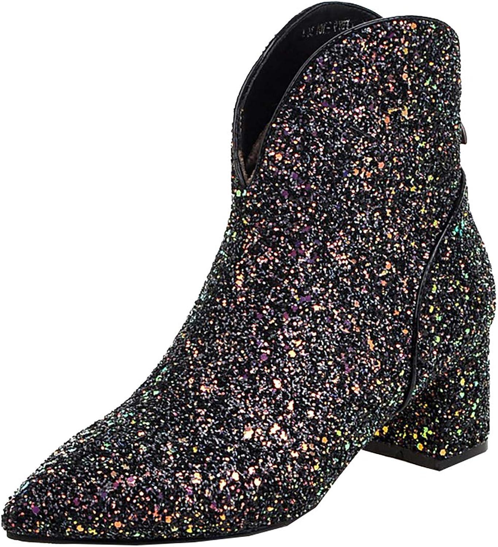 Artfaerie Womens Block Chunky Heels Ankle Glitter Boots Mid Heel Pointed Toe Wedding Booties